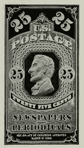 25 cent US postage stamp series of 1861