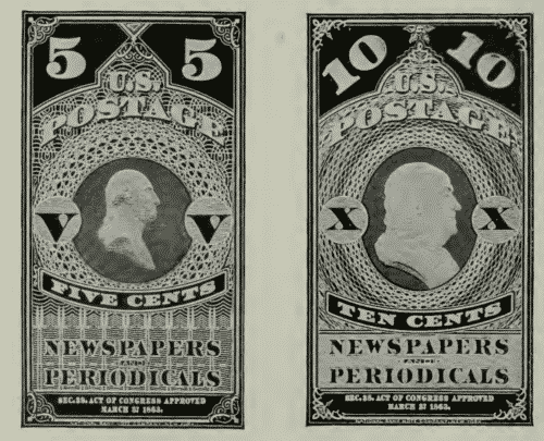 5 and 10 cent postage stamps series of 1861