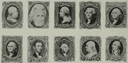 us postage stamps Series of 1861