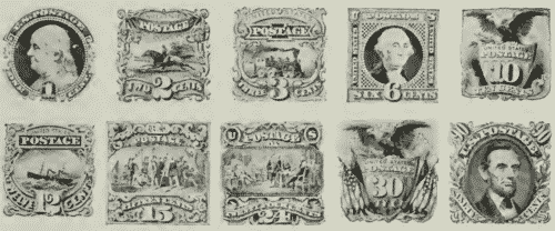 US postage stamps Series of 1869