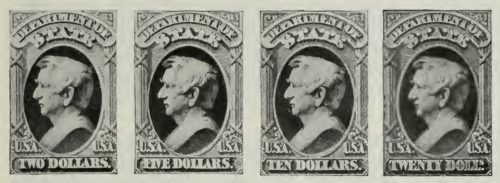 us postage stamps 1873-1884 2-5-10-20 dollars