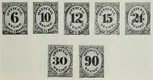 us stamps postage from 1873 to 1884 from 6 to 90 cents